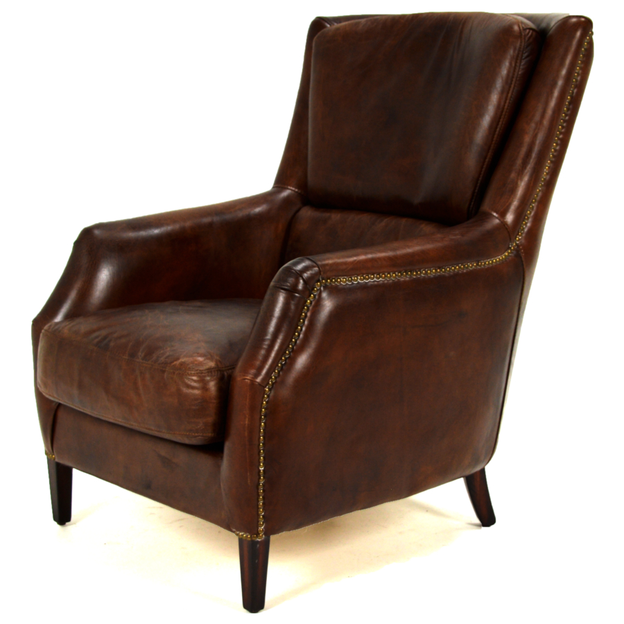 Cedric leather lounge chair chestnut home source furniture for Homesource furniture