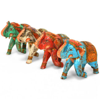 MSI 269 Hand Painted Wooden Elephant, Assorted Finishes