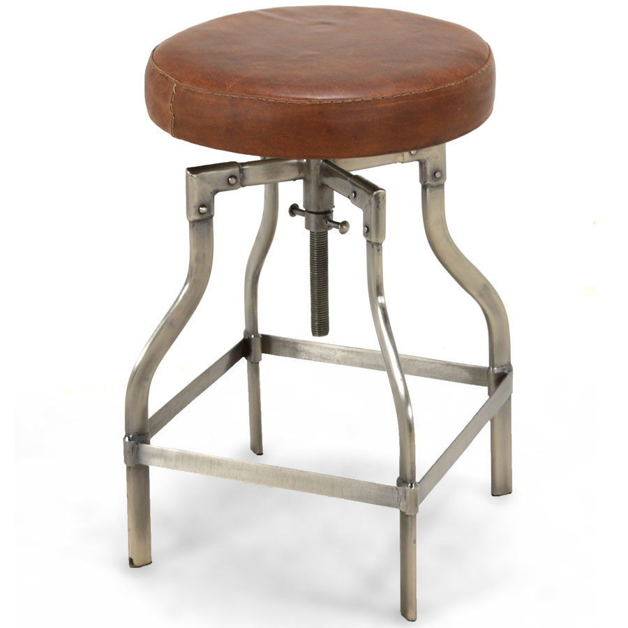 Clive Adjustable Height Swivel Bar Stool Vintage Leather