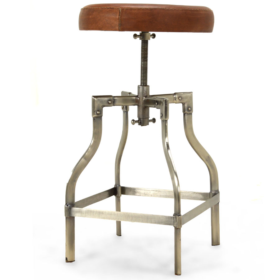 Clive Adjustable Height Swivel Bar Stool Cocoa Leather