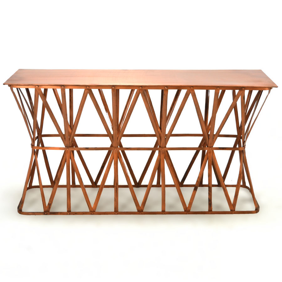 Regal Iron Console Table Brushed Copper Home Source