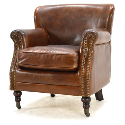 Faust Leather Club Chair, Prato Chestnut