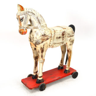MSI 457 Vintage Wooden Horse From India, 49″Tall