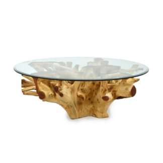 Organic Teak Root Coffee Table with Glass Top, RIS 584