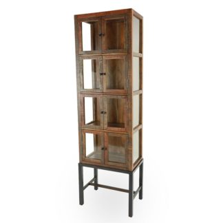 Abaline Eight Door Display Cabinet, Salvaged Wood